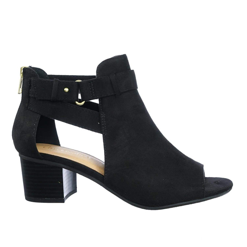 Invest BlkIsu Chunky Block Heel Side Cutout Ankle Bootie w Double Belted Detail