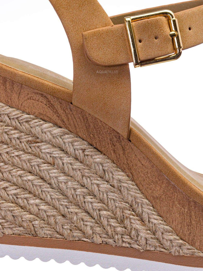 Camel Brown / Issue Espadrille Wooden Platform Wedge Sandal - Womens Open Sqaure Toe Heels