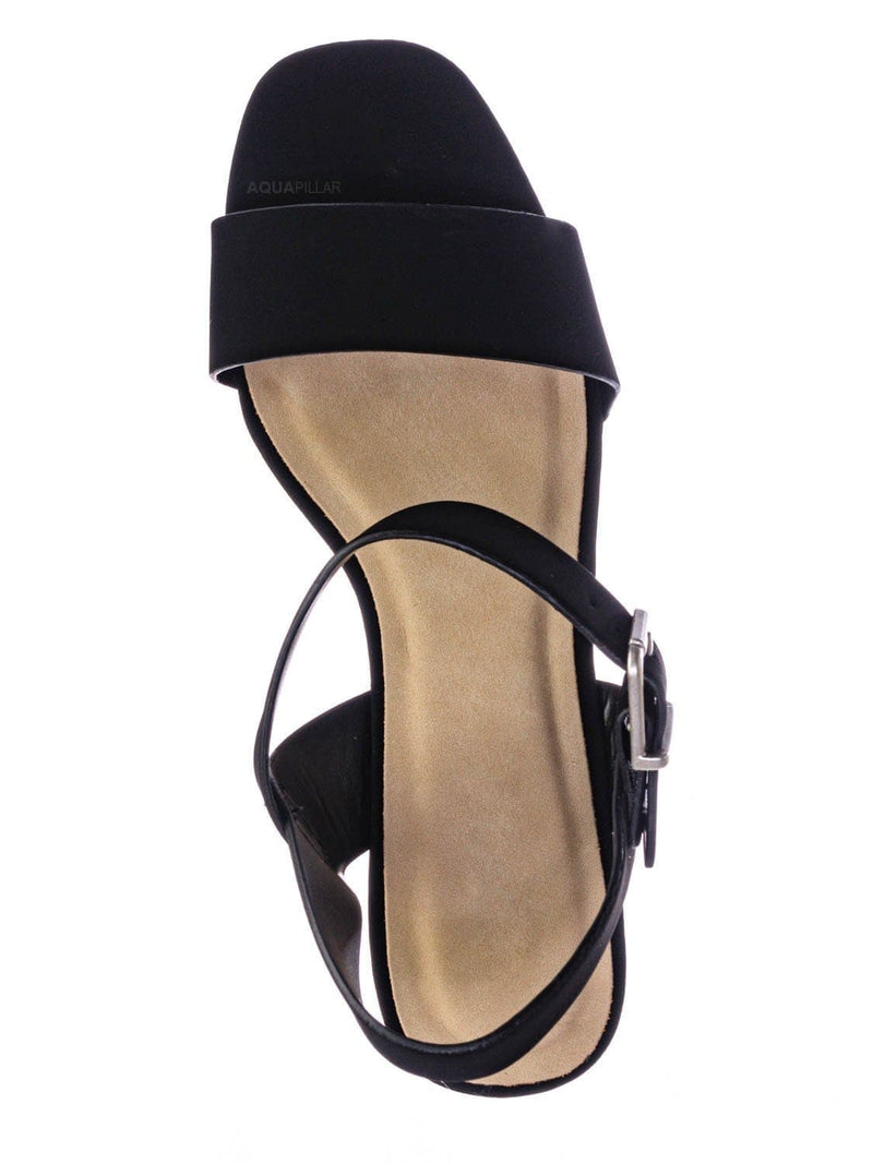 Black Nubuck / Issue Espadrille Wooden Platform Wedge Sandal - Womens Open Sqaure Toe Heels
