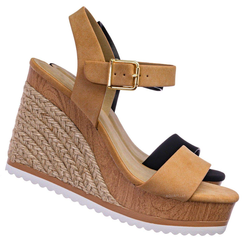 Issue Espadrille Wooden Platform Wedge Sandal - Womens Open Sqaure Toe Heels