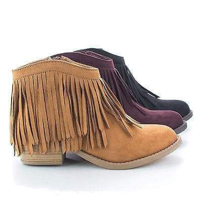 Jervis Black By Soda, Western Pointed Toe Ankle Fringe Stacked Heel Bootie