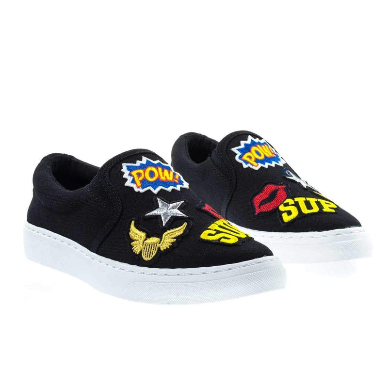 JoyPop Black Cotton By Soda, Slip On Sneaker w Graphic Embroidered Patched w White Platform Sole