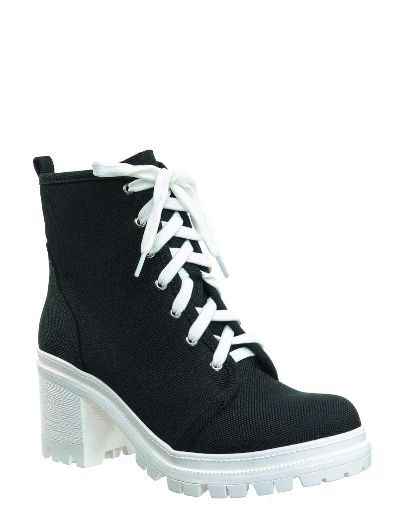 Black Canvas / Ketch Black Canvas  Ankle High Lace Up Booties - Womens Platform Block Heel shoes