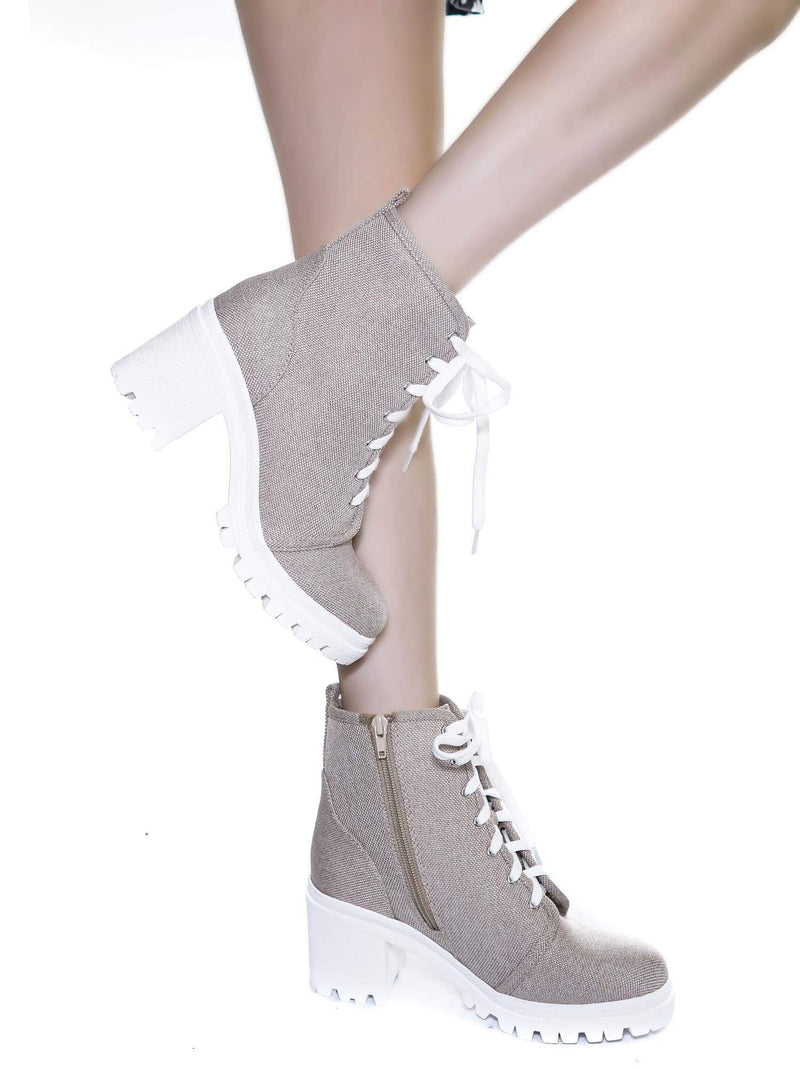 Natural Beige / Ketch Natural Beige  Ankle High Lace Up Booties - Womens Platform Block Heel shoes