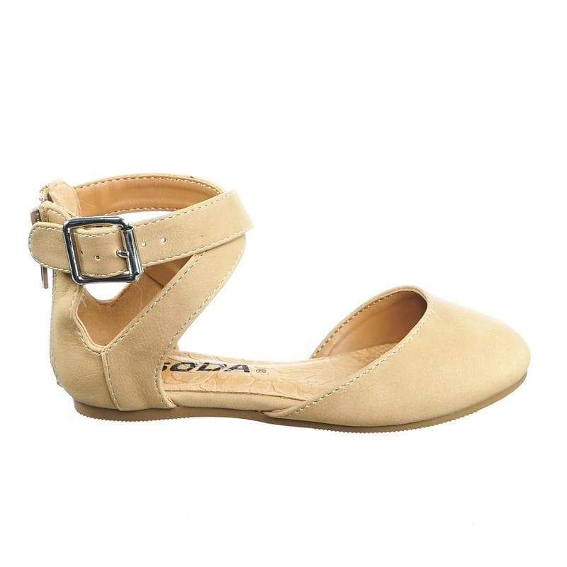 Kiner-IIS Natural Children's Girl Flat Round Toe D'Orsay Open Shank Flats