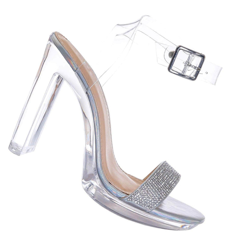Silver Clear / Lala Transparent Perspex Heel Sandal - Lucite Clear Translucent Glass Slipper