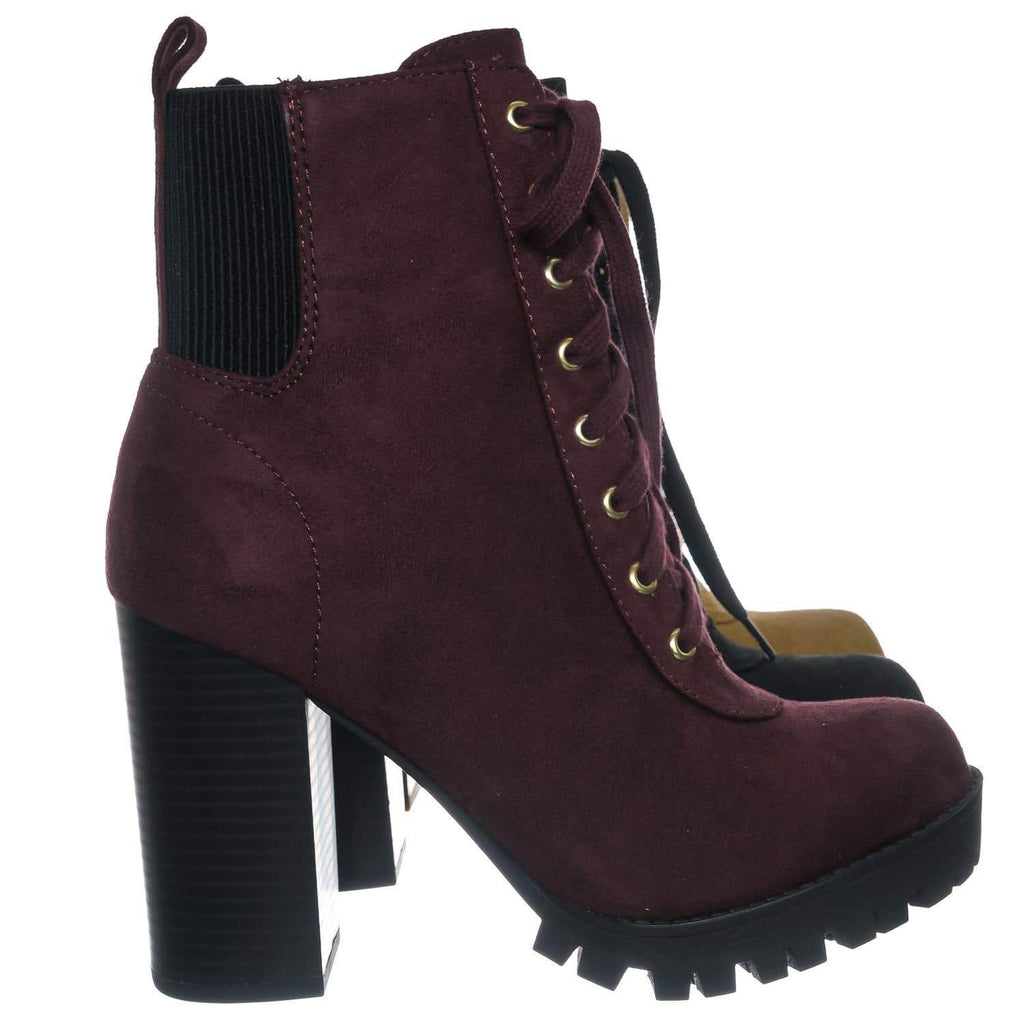 Vino Red / Limit Vino Red Lug Sole Block Heel Combat Bootie - Women Military Fashion Ankle Boot