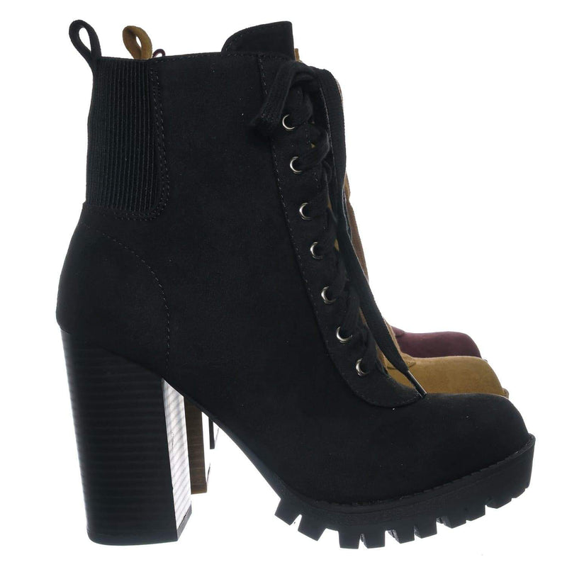 Black F-Suede / Limit Black F-Suede Lug Sole Block Heel Combat Bootie - Women Military Fashion Ankle Boot
