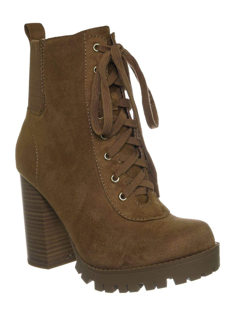 Tan Brown / Limit Tan Brown Lug Sole Block Heel Combat Bootie - Women Military Fashion Ankle Boot