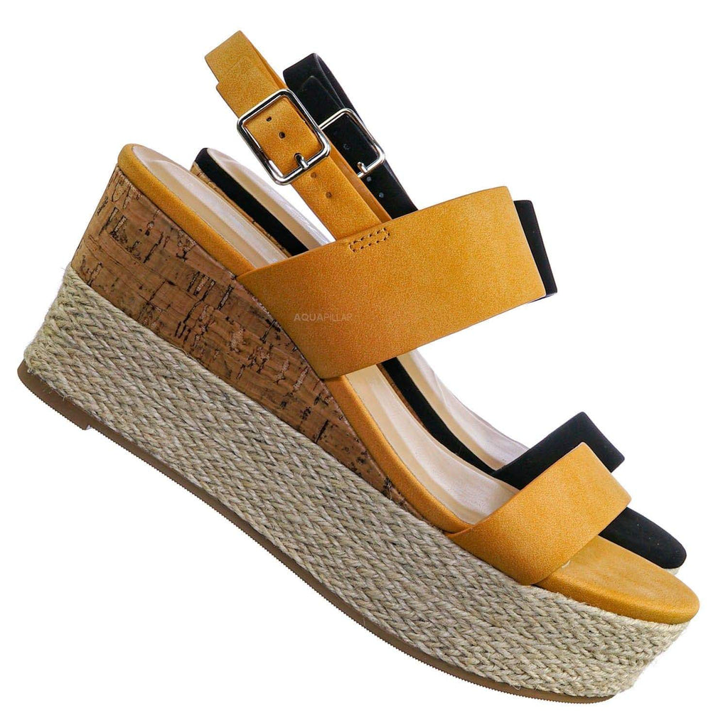 Listen Two Tone Double Strap Wedge - Womens Summer Open Toe Heel Sandals