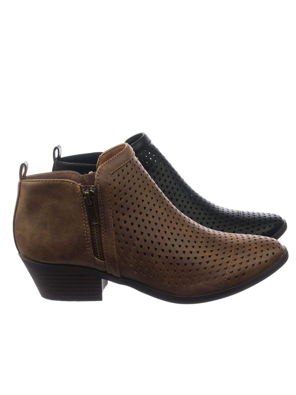 Mantis LbrnDist Women Vintage Western Ankle Bootie Block Heel Perforated Hole Cut Out