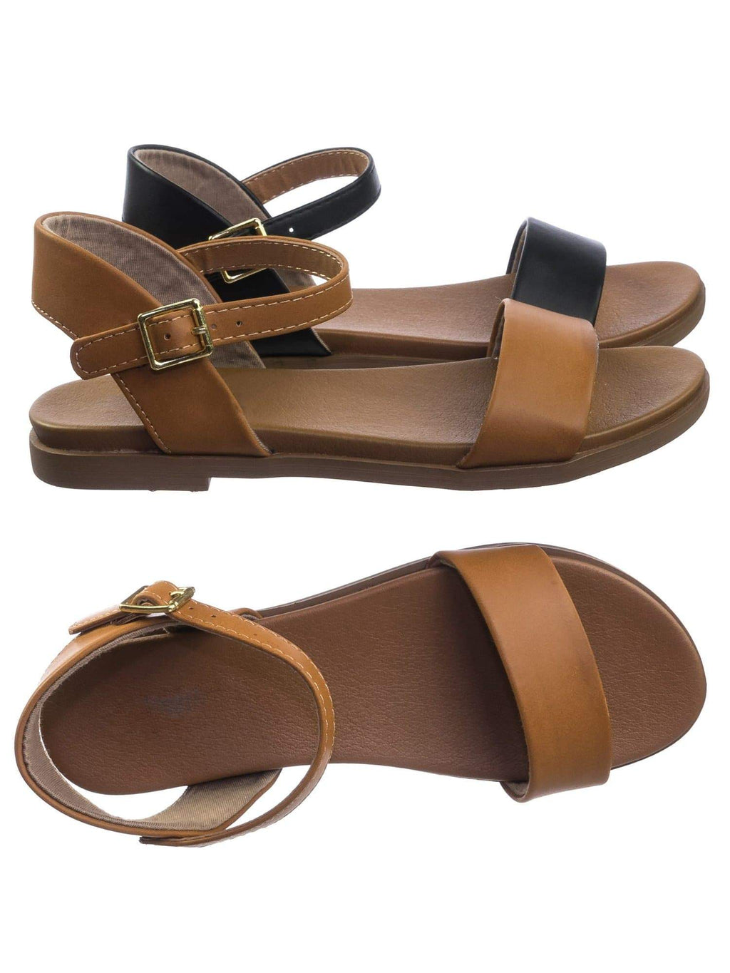 Meadow TanPu Super Comfortable Flexible Soft Rubber Padded Insole Women's Flat Sandal