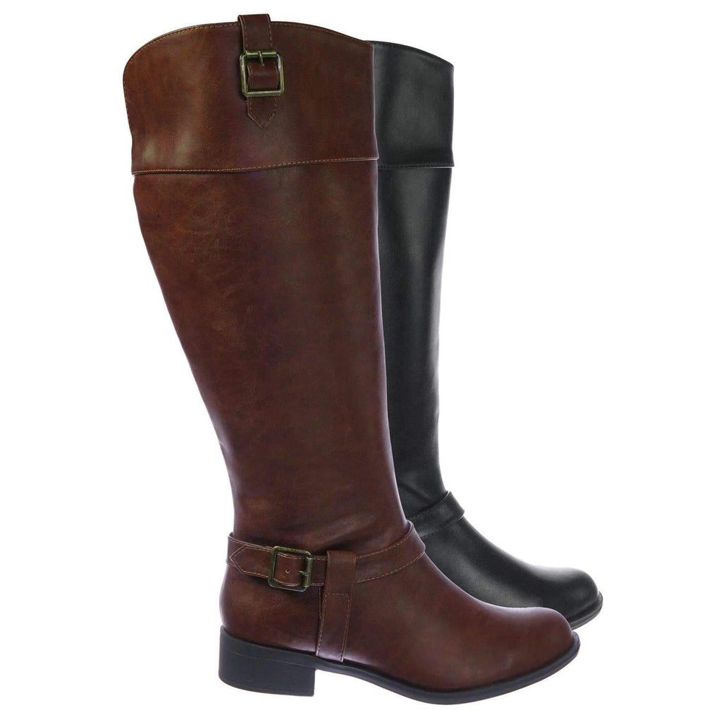 MicaW DkTanPu Womens Wide Calf Riding Boots