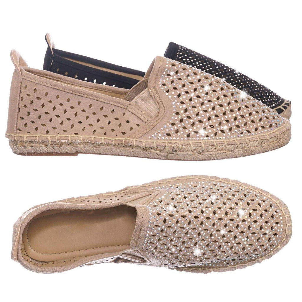 Oatmeal Beige / Movie OatIsu Espadrille Slip On Flats w Rhinestone -  Round Toe Cutout Loafer Shoes