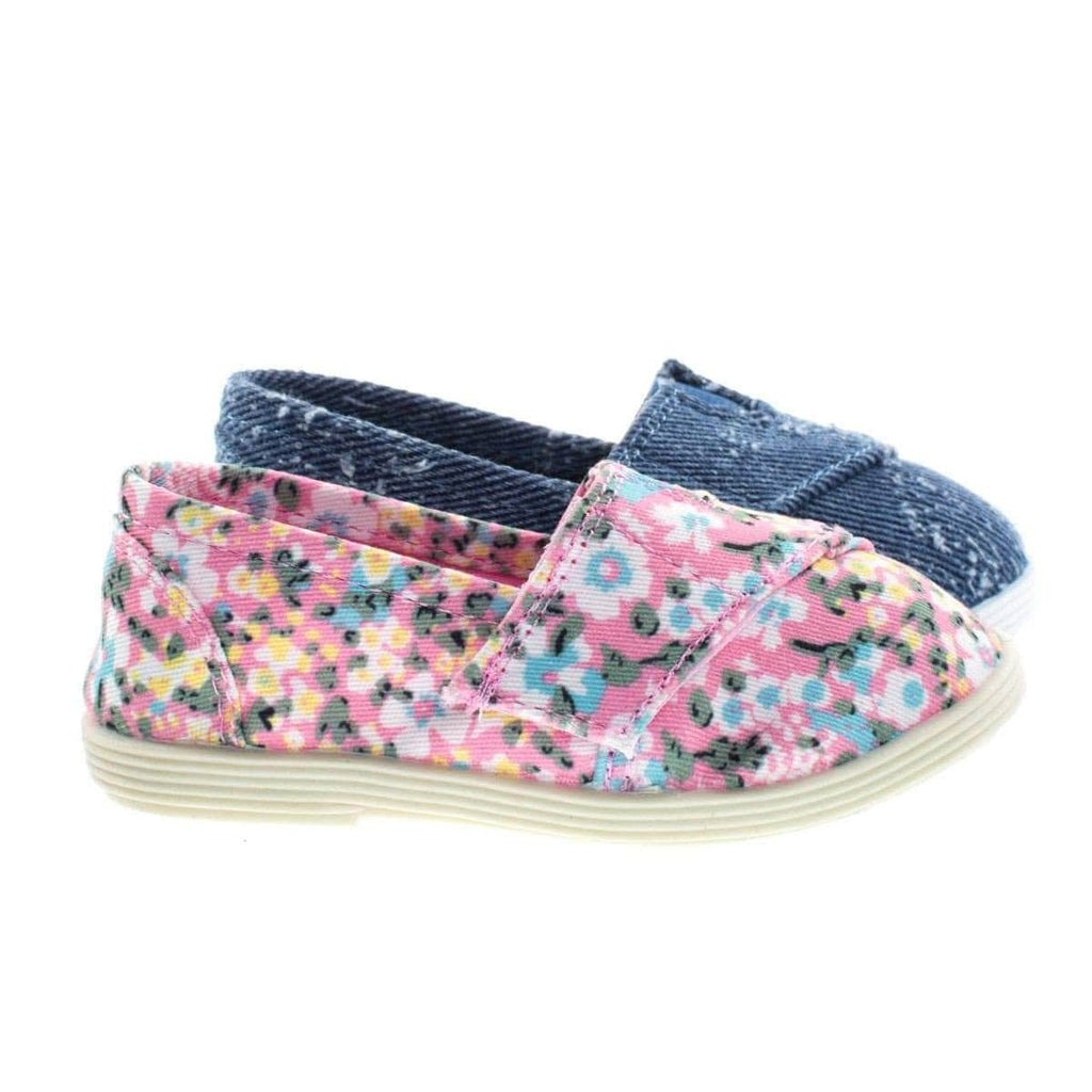 ObertIIsq Toddler Baby Girl's Round Toe Casual Flats in Floral & Denim Jean