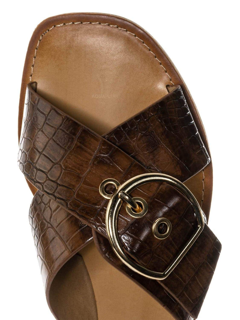 Cognac Brown / Oregan Vintage Croco Slide In Slipper - Women Slipper Cross Strap Sandal