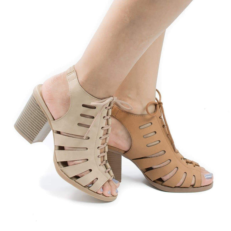 Otago Tan Pu By Soda, Cut Out Lace Up Sling Back Stacked Block Heel Sandals