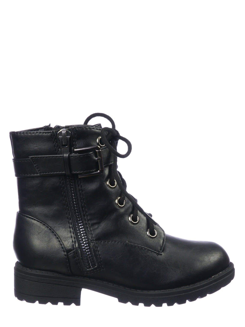 Black Pu / Other2 Black Pu Children Combat Boots - Girls Lace Up Lug Sole Bootie