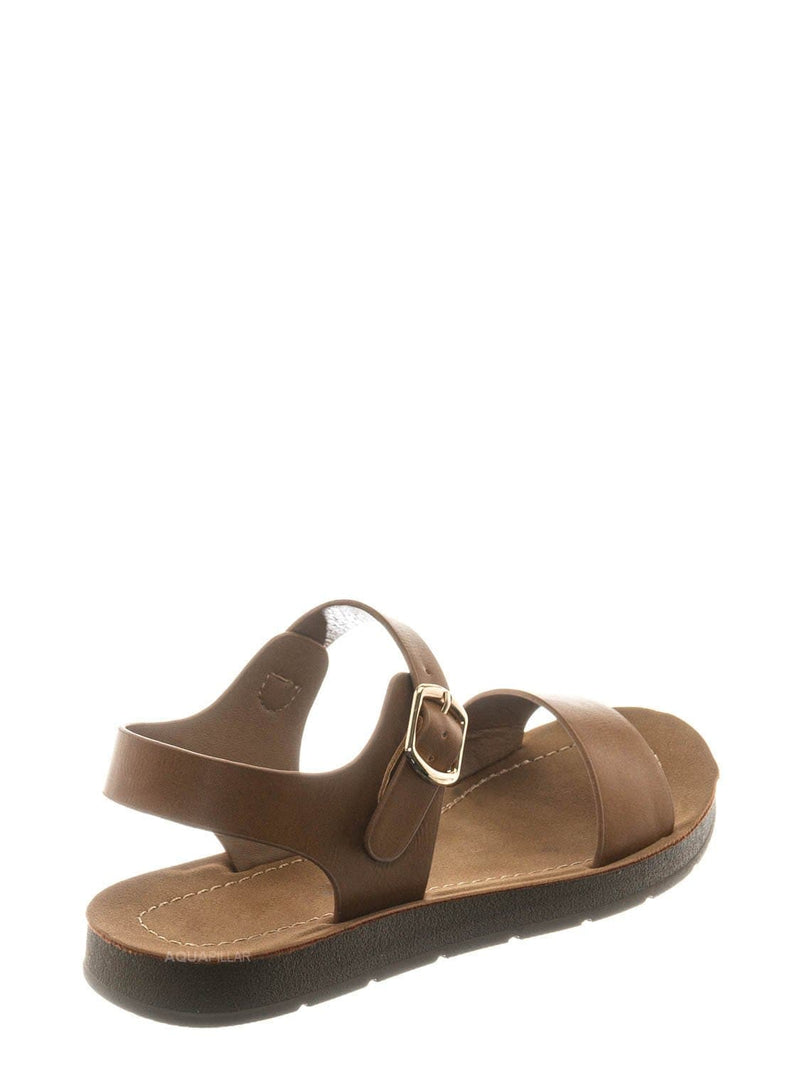 Tan Brown / Plenty2 Kid Soft Flexible Open Toe Flat Sandal - Children Girl Foam Outsole