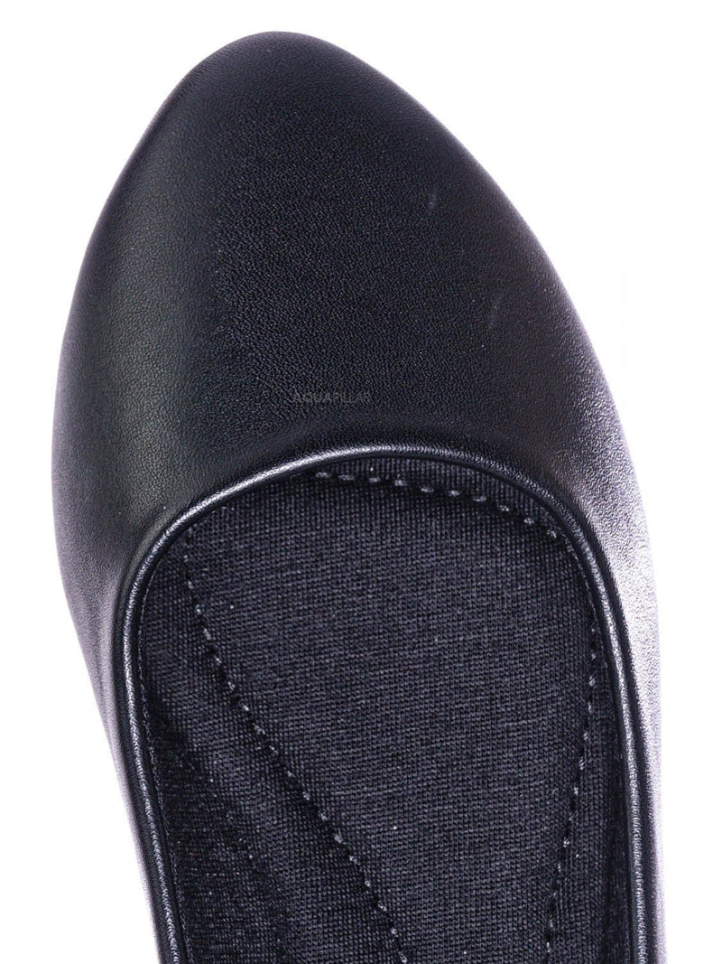 Black Pu / Redbud2 Girls Ballerina Flats - Children's Classic Slip On Round Toe Shoes
