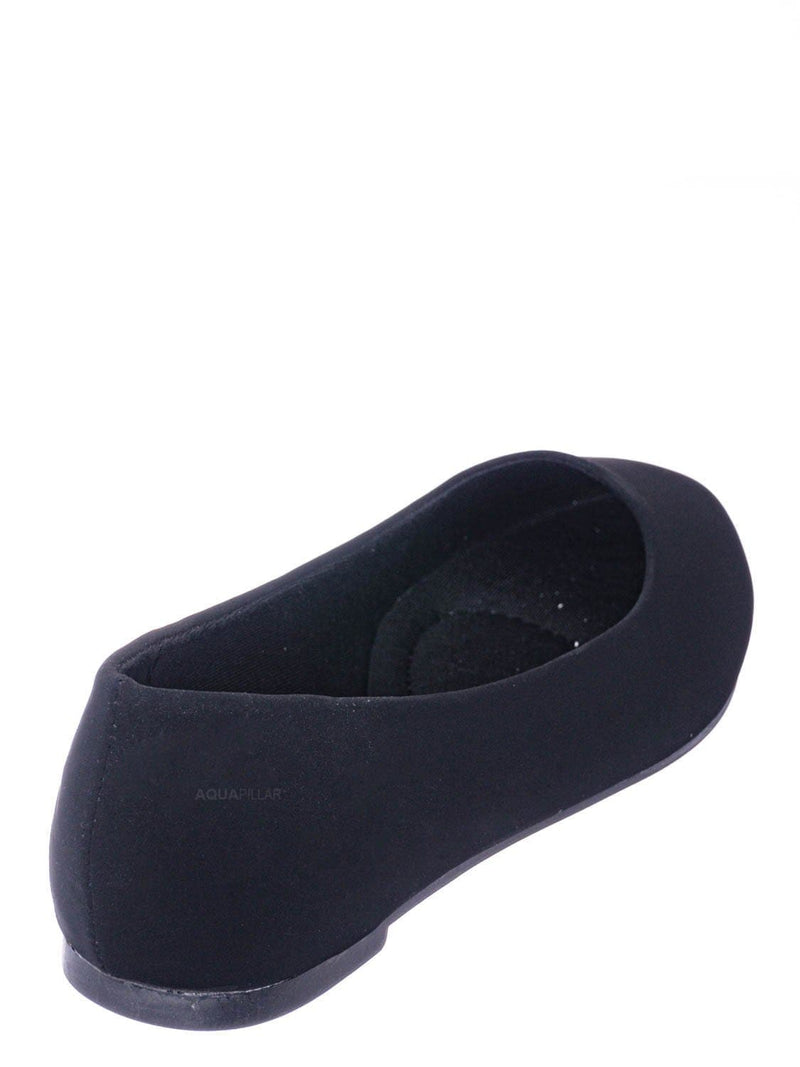 Black Nubuck / Redbud2 Girls Ballerina Flats - Children's Classic Slip On Round Toe Shoes