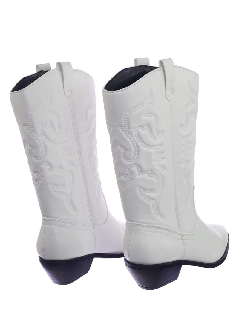 Reno WhitePu Cowboy Western Leatherette Stitch Detail Mid-Calf High Cowgirl Boots