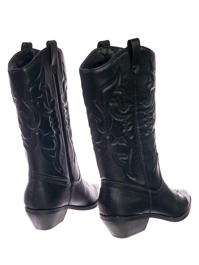 Reno BlackPu Cowboy Western Leatherette Stitch Detail Mid-Calf High Cowgirl Boots