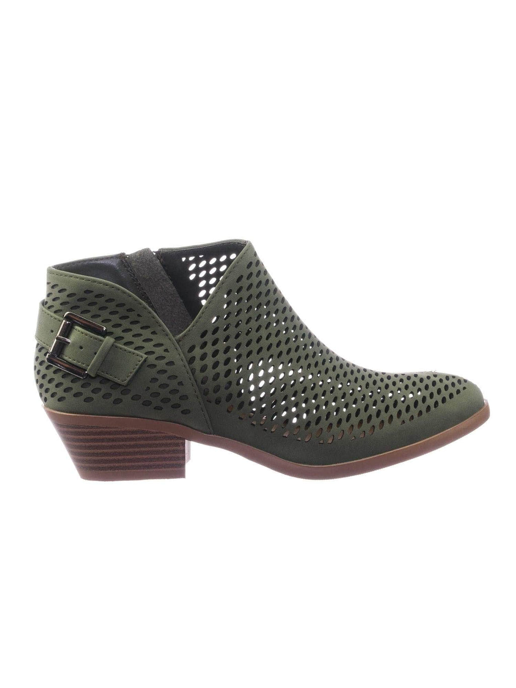 Riding GreyNb Asymmetrical Perforated Cutout Low Block Heel Ankle Bootie w Side Slit