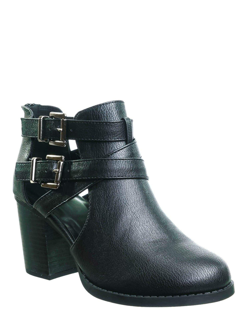 Scribe Black pu Bikers Belted Block Heel Bootie - Harness Side Slit Ankle Bootie
