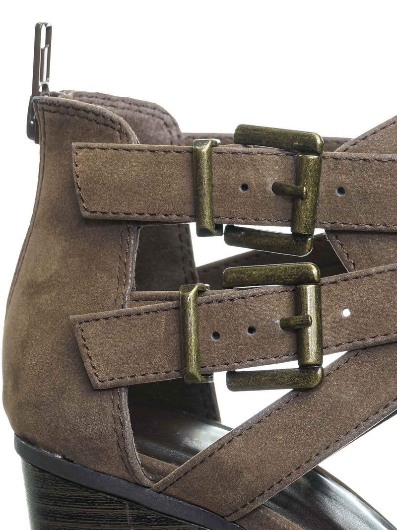 Scribe Brown Nubuck Bikers Belted Block Heel Bootie - Harness Side Slit Ankle Bootie