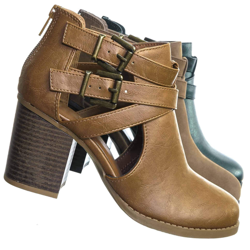 Scribe Tan Tan Bikers Belted Block Heel Bootie - Harness Side Slit Ankle Bootie