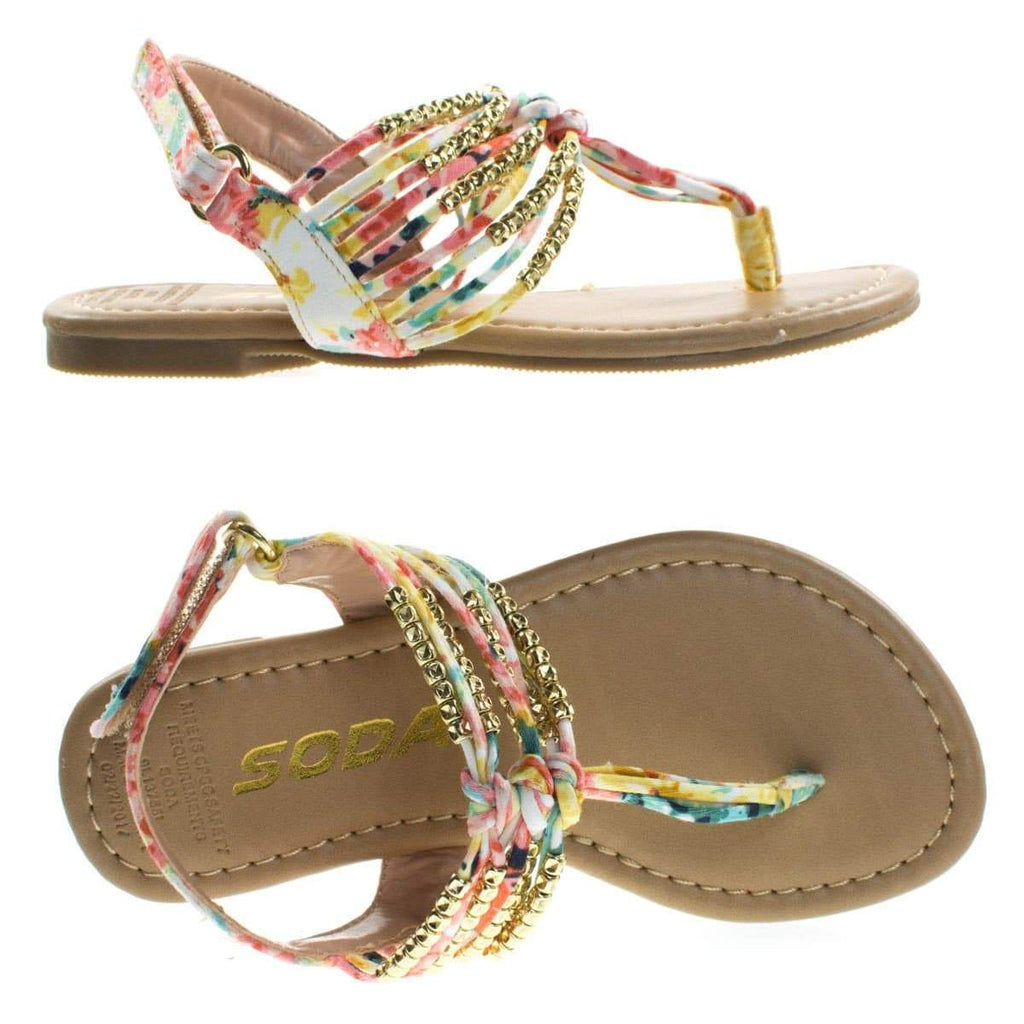 SonjaIIs Children Girls Thong Flat Sandal w Tribal Print & Metal Bead. Kid Shoe