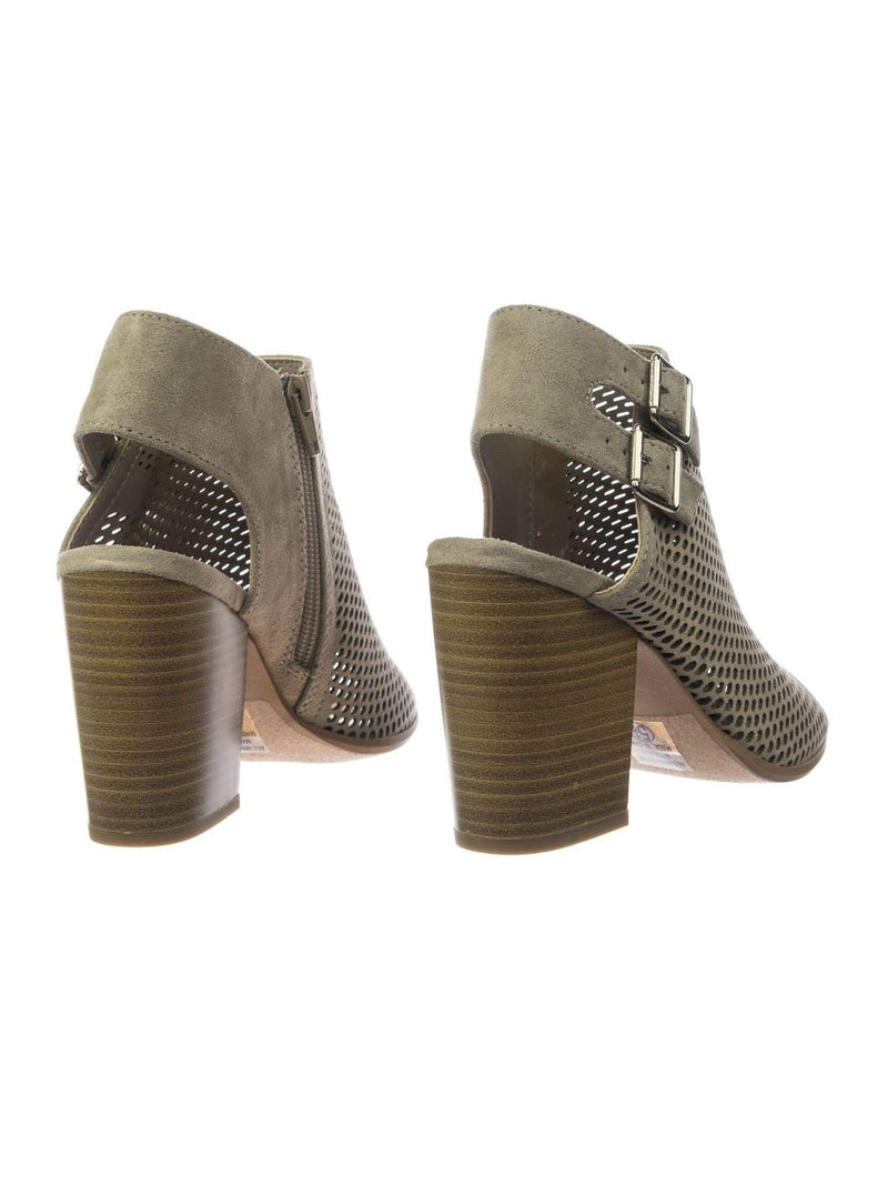 Stage ClayImsu Block Heel Peep Toe Open Back Ankle Booties w Perforated Cuts, Women Shoes