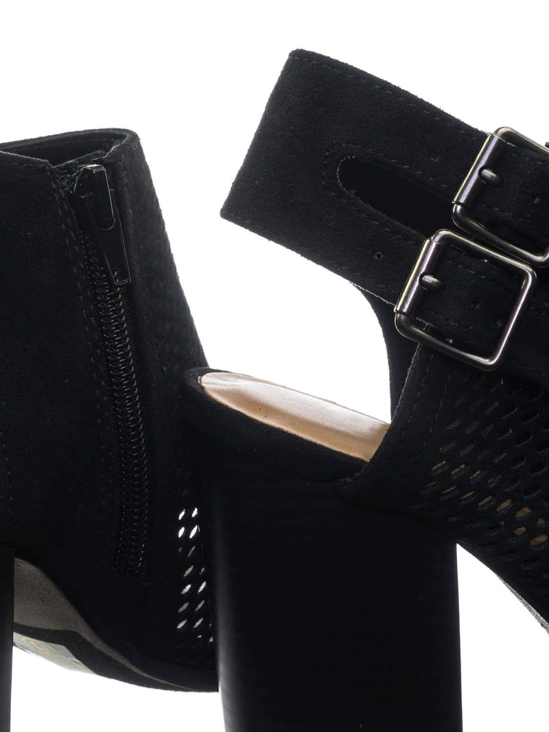 Stage BlackImsu Block Heel Peep Toe Open Back Ankle Booties w Perforated Cuts, Women Shoes
