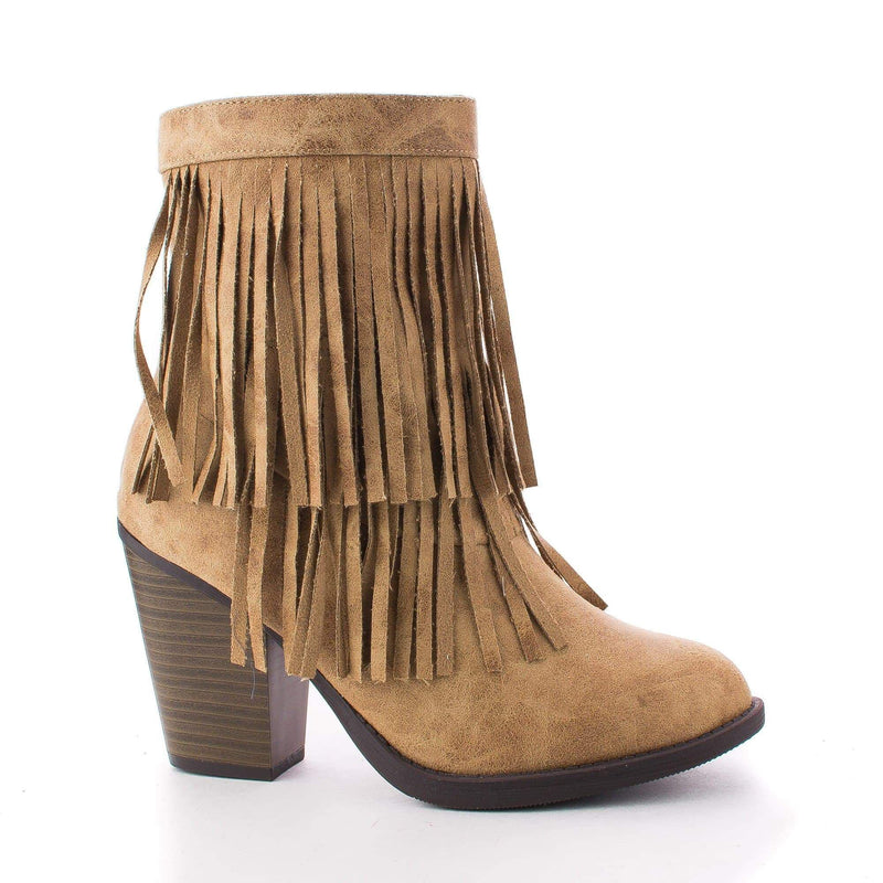 Strong By Soda, Round Toe Layered Fringe Stacked Heel Ankle Bootie