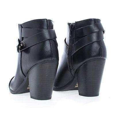Sugar Black Pu By Soda, Almond Toe Western Ankle Wrap Stacked Heel Boots