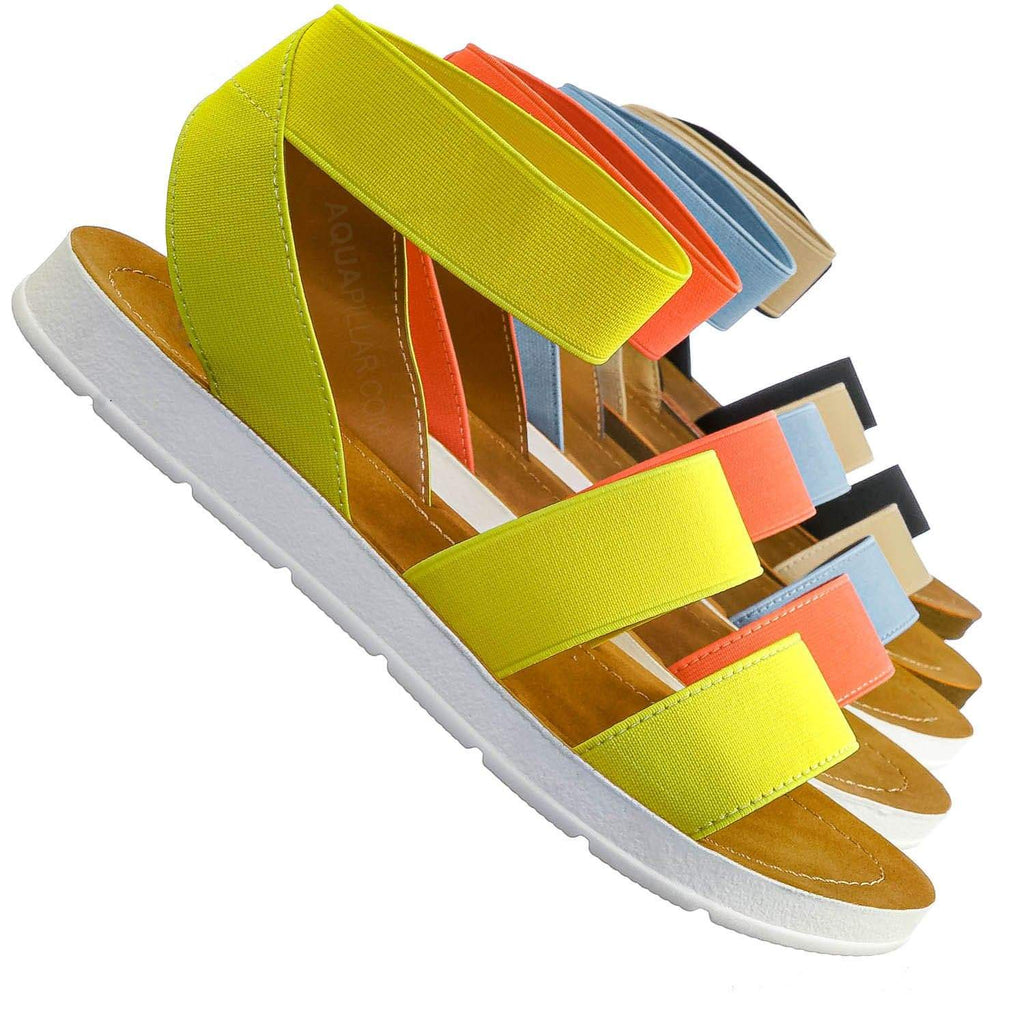 Sushi Lightweight Elastic Flatform Sandals Slip On - Womens Open Toe Flat Shoe