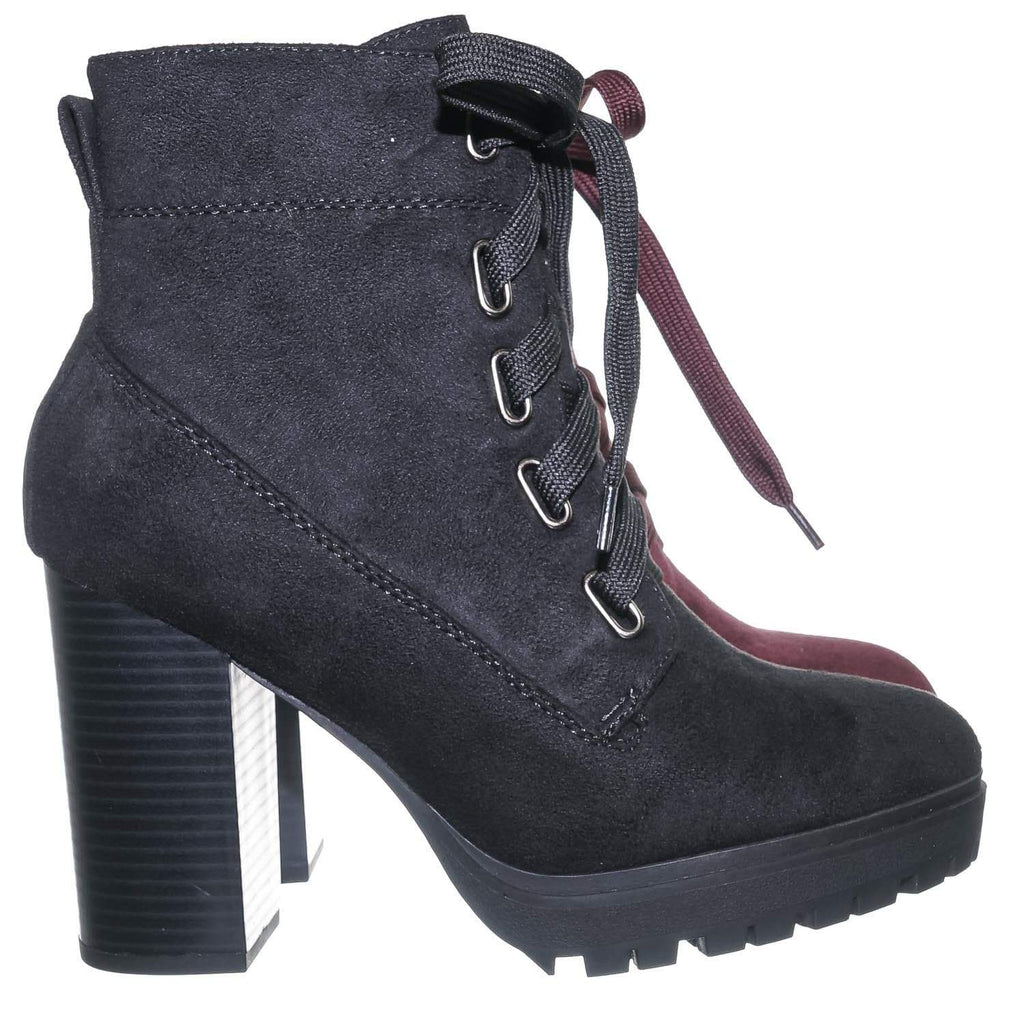 Vino Red / Timeout Vino Red Block Heel Combat Bootie - Women Heave Lug Sole Lace Up Ankle Boots