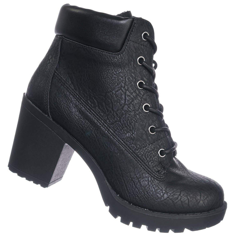 Black Pu / Vent BlackPu Rubber Block Heel Front Lace Closure Bootie - Vintage Full Grain Work Boot