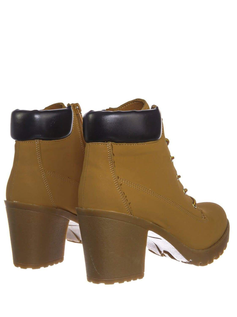 Chamois Yellow / Vent ChamPu Rubber Block Heel Front Lace Closure Bootie - Vintage Full Grain Work Boot