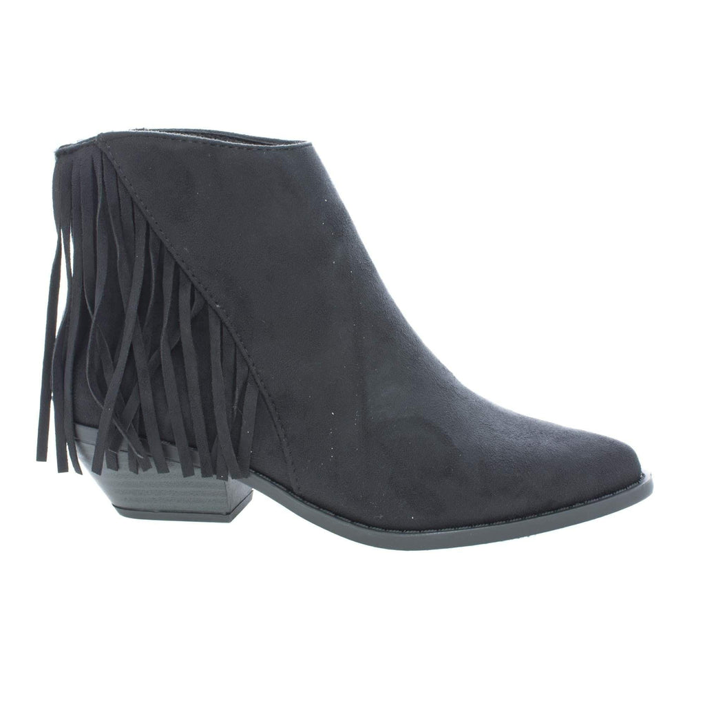 Volley by Soda, Asymmetric Fringe Western Pointy Toe Ankle Women's Boots - Aquapillar.com
