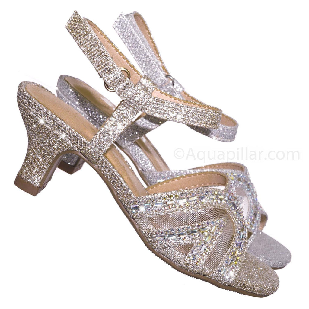 Gold Glitter / Abbie2 Gold Glitter Girls Glitter Rhinestone Sandal - Childrens Kids Heel Open Toe Dress Shoe