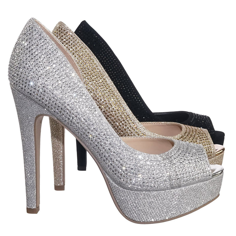After SilverShm Rhinestone Crystal Glitter High Heel d'Orsya Evening Party Dress Pump