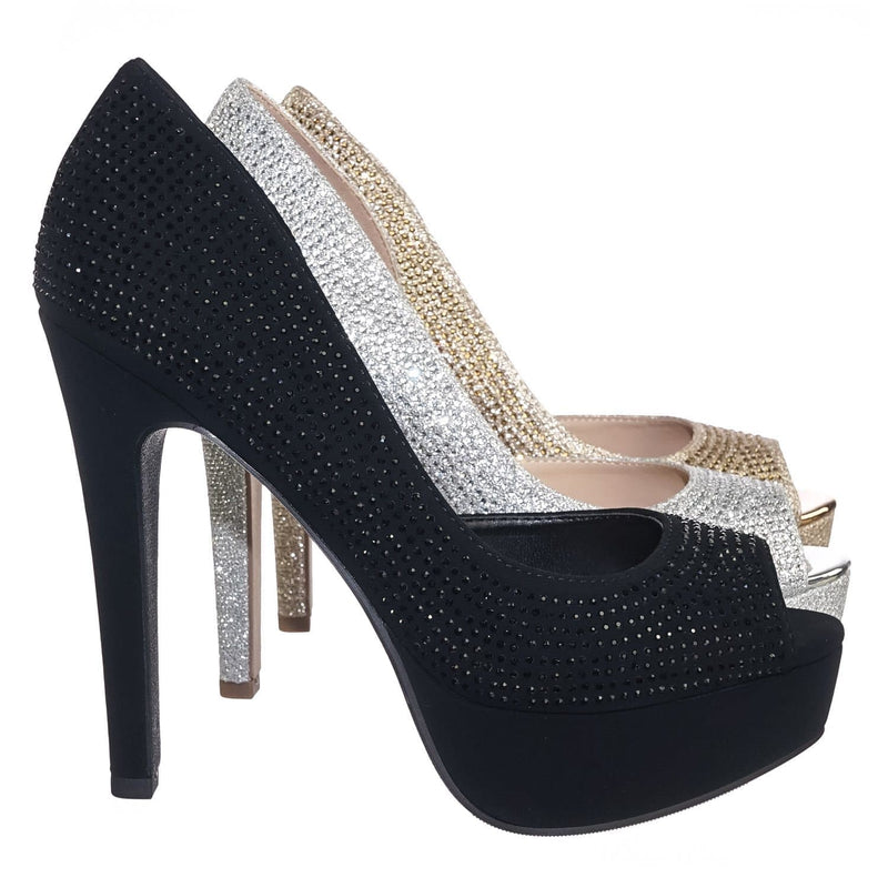 After BlackNbPu Rhinestone Crystal Glitter High Heel d'Orsya Evening Party Dress Pump
