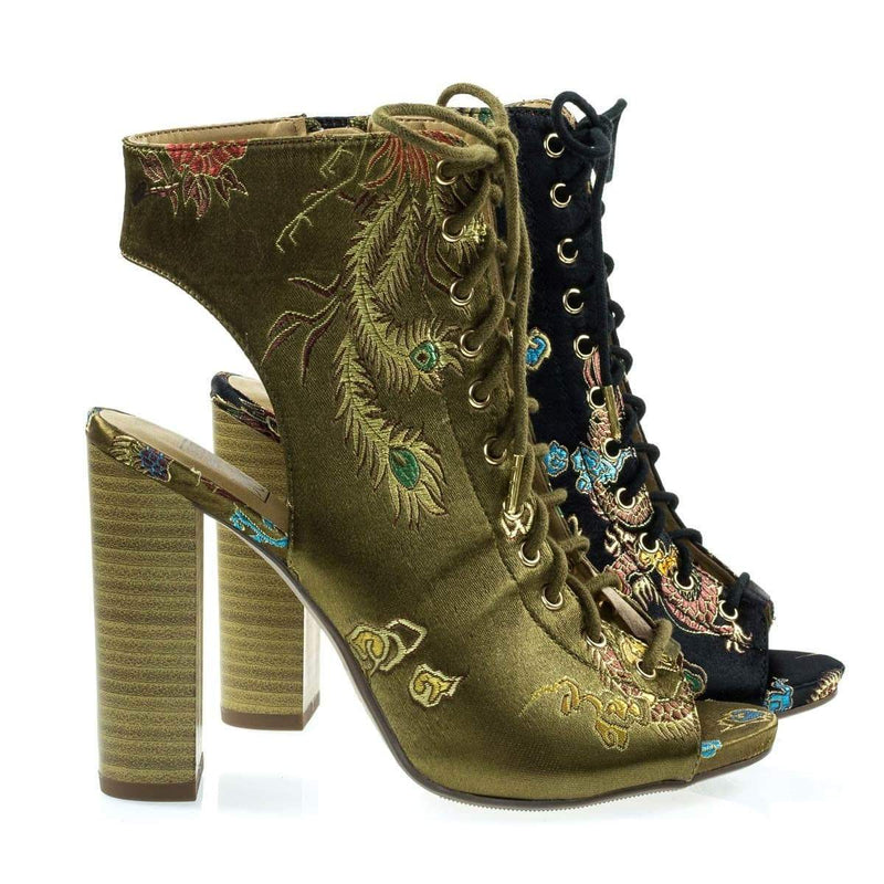 Brobe Oriental Embroidery Feather Stitching Lace Up, Block Heel Bootie Sandal