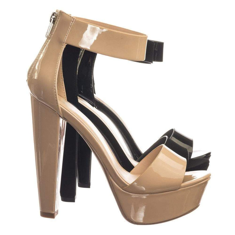 Chorus DBgePat Retro Open Toe Two Piece Evening Block Heel Platform Dress Sandal