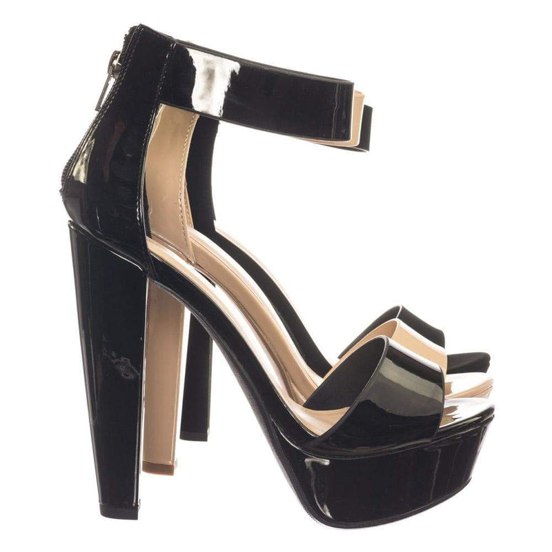 Chorus BlackPat Retro Open Toe Two Piece Evening Block Heel Platform Dress Sandal