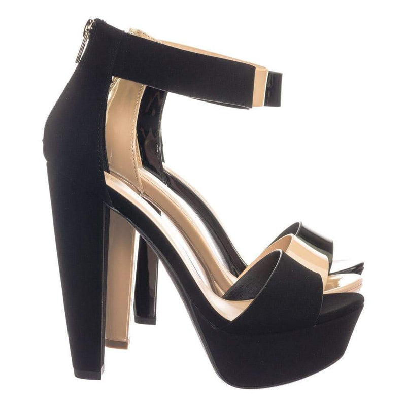 Chorus BlkNbPu Retro Open Toe Two Piece Evening Block Heel Platform Dress Sandal