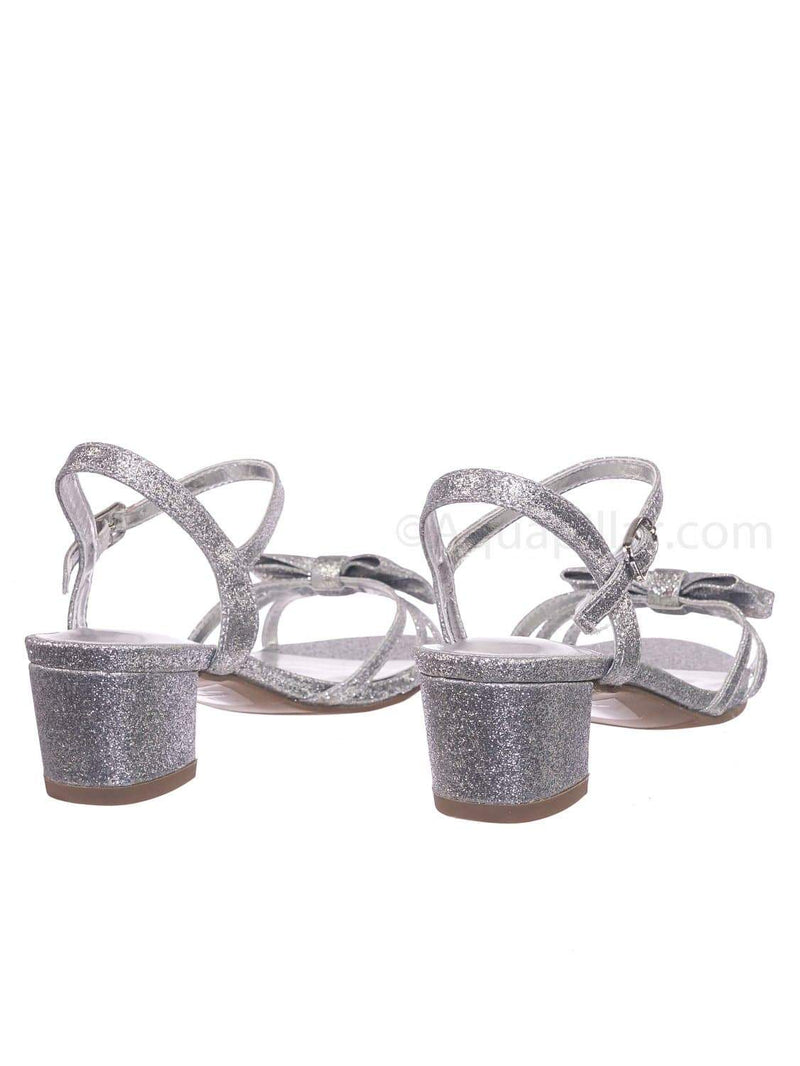 Silver Glitter / Gale2  Silver Glitter Girls Classic Bow Heel Sandal - Children's Kids Heel Open Toe Dress Shoe