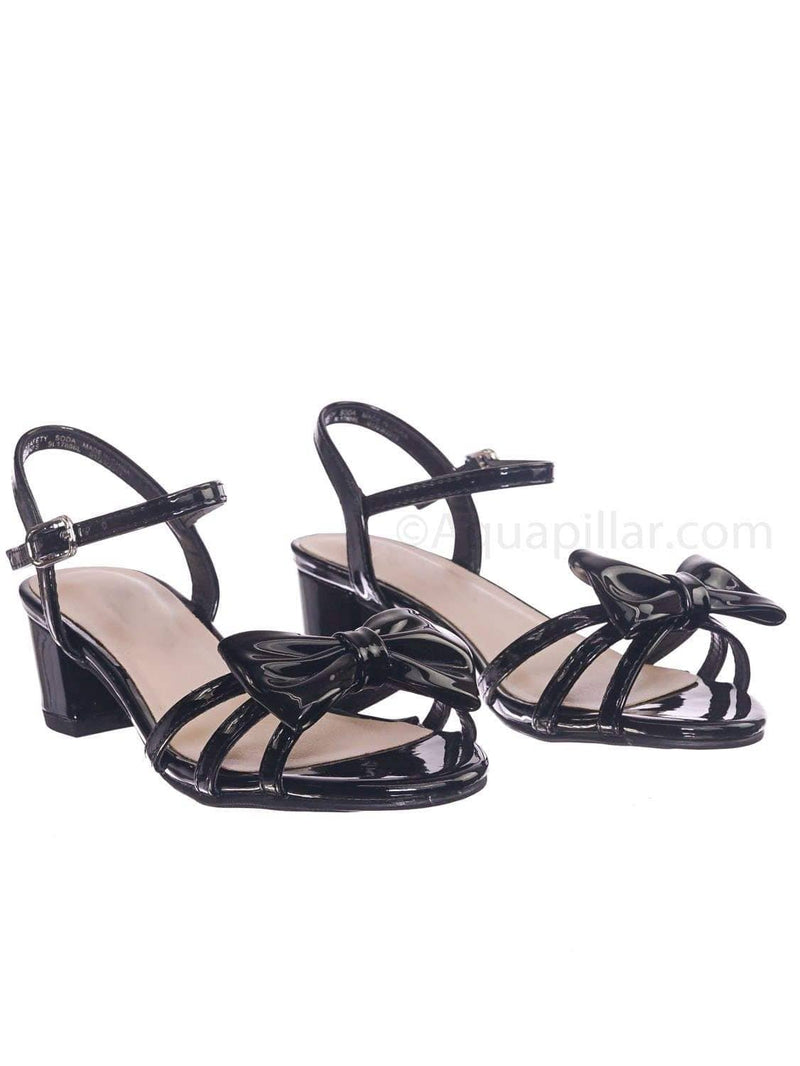 Black Patent / Gale2 Black Patent Girls Classic Bow Heel Sandal - Children's Kids Heel Open Toe Dress Shoe